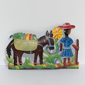 Metal Handcrafted Haitian Art Merchand and Donkey